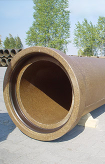 Pipes, system manholes, shaft structures and segments made of polymer concrete.